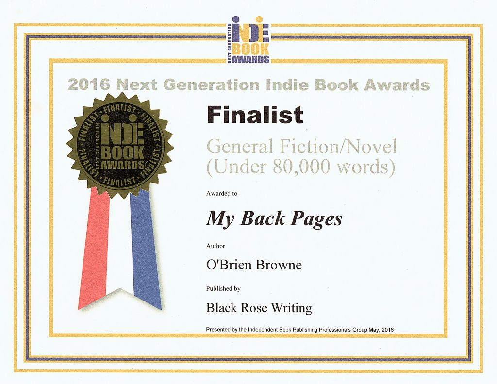 "2016 Next Generation Indie Book Award for ""My Back Pages"" by author, O'Brien Browne"